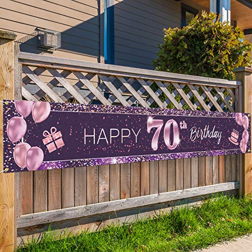 PAKBOOM Happy 70th Birthday Backdrop Pink Photo Background Banner Cheers to 70 Years Old Decorations Party Supplies