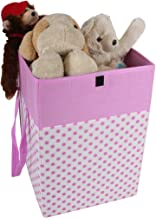 PrettyKrafts Laundry Basket for Clothes with lid & Handles (75 LTR) - Pink with White Dots
