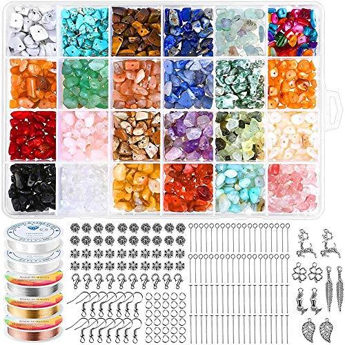 tellaLuna 1515 cuentas de cristal para hacer joyas, con cuentas de piedras preciosas irregulares para aretes, collares y suministros
