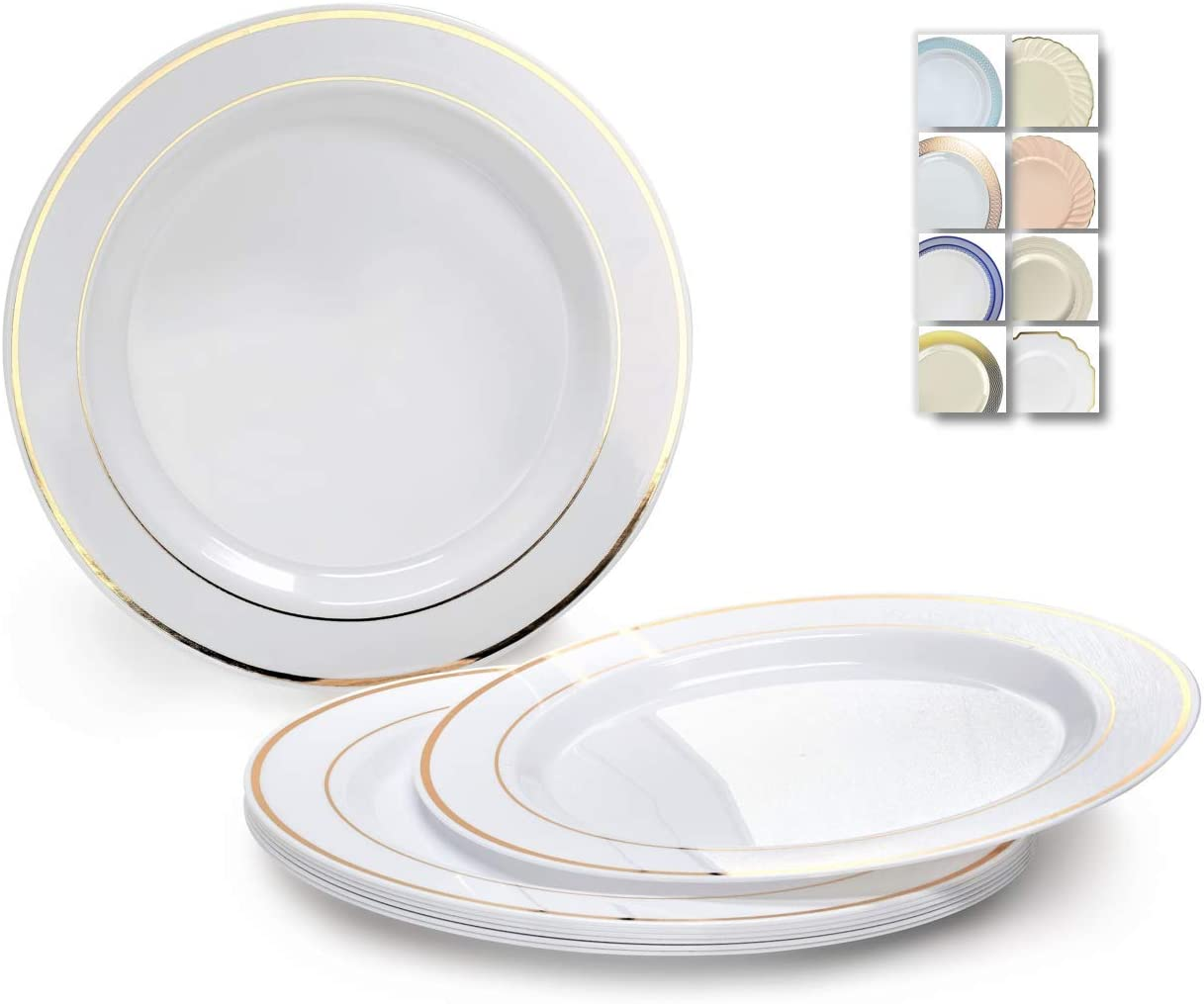 Parties Premium Elegant Heavy Duty Round Plastic Plates with Gold or Silver Trim for Weddings and Special Events