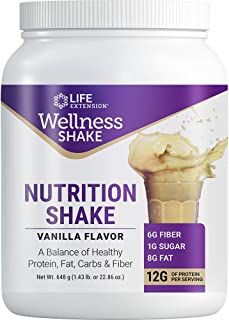 Life Extension Wellness Shake Between-Meals Macronutrient Blend Pea, Whole-Grain, Brown Rice, Chia & Flaxseed Proteins - V...