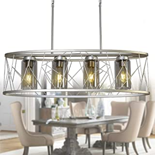 OSAIRUOS Modern Linear Chandelier, Rustic Silver Drum Oval Chandeliers Pendant Ceiling Light for Dining Room Kitchen Island L34.6'' Nest Style 4-Lights