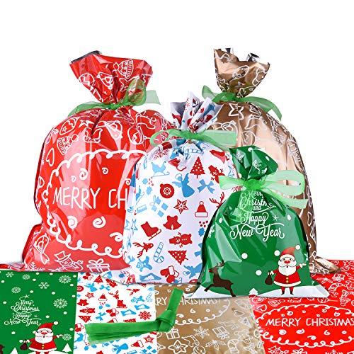 MIAHART Confezione da 10 Sacchetti Regalo di Natale Confezioni Regalo di Grandi Dimensioni Stili Assortiti Borse Regalo di Natale con Lacci per Nastri per Regali di Natale (Stile A-10 Pezzi)