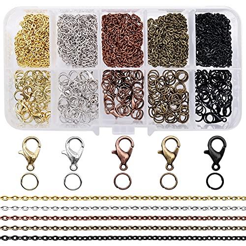 Conjunto de elaboración de joyas Correa de cadena con anillas para saltar, cierres de langosta para hacer y reparar joyas