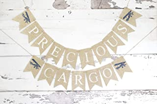 Precious Cargo Plane Banner   Baby Shower or Gender Reveal Party Decoration