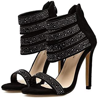 Women's Rhinestone Vamp Strap Open Toe Zipper High Heel Sandal,Fashion Style with Clear Heels Is Perfect for Wedding, Party, Banquet Or Other Occasions.