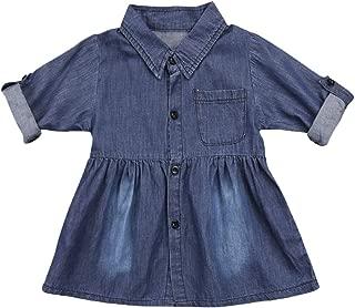 Toddler Baby Girls Denim Dress One-Piece Long Sleeve Shirt Skirt Casual Dress Outfits