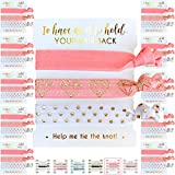 10 x 3-Pack Hair Ties - Bachelorette and Wedding Shower Party Favors for Bridesmaids, Team Bride, Bride Tribe - 30 Hair Ties in Total! (Pink White & Gold)