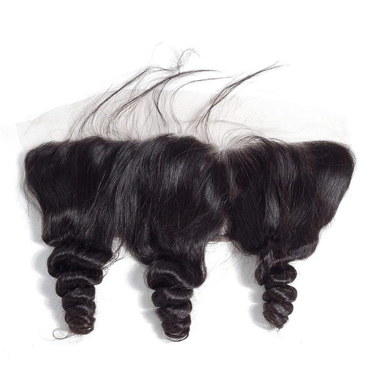 かつら 自由な部分レース前頭閉鎖緩い波ブラジルバージン人間の髪13