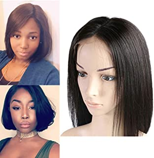 150 Density Brazilian Virgin Hair Short Straight Bob Wigs Raw Human Hair Wigs(6 inch 13x4 Lace Front)
