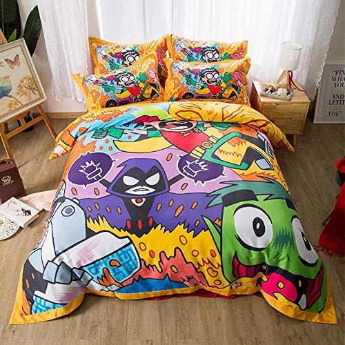3D Serie Ropa De Cama - Dibujos Animados Funda Nórdica Y Funda De Almohada, Ropa De Cama 3 Piezas (para Cama de 1.2/1.5/1.8 m) Antibacteriano, Hipoalergénico I-Bed Skirt: 1.2 m Bed 160 * 210cm