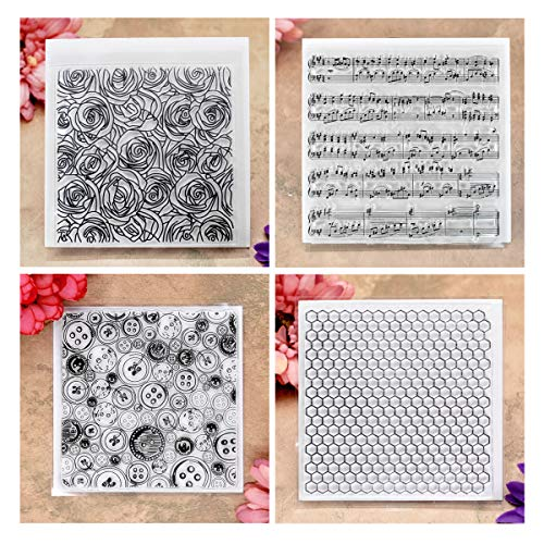 Kwan Crafts 4 Sheets Different Style Rose Honeycomb Background Clear Stamps for Card Making Decoration and DIY Scrapbooking