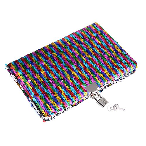 PojoTech Magic Sequin Notebook, Reversible Sequin Journal (Rainbow-Silver)