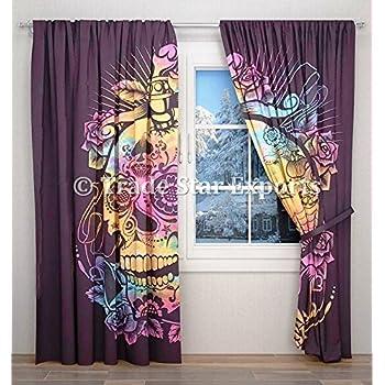 Trade Star Indio Tie Dye Cortina Cráneo Colgar en la pared Tapicería Algodón Cortinas Lujoso conjunto de cortina de sala de estar con 2 paneles: Amazon.es: Hogar