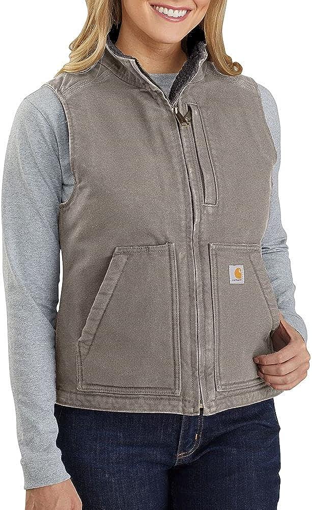 Carhartt Women's Loose Fit Washed Duck Sherpa-Lined Mock Vest