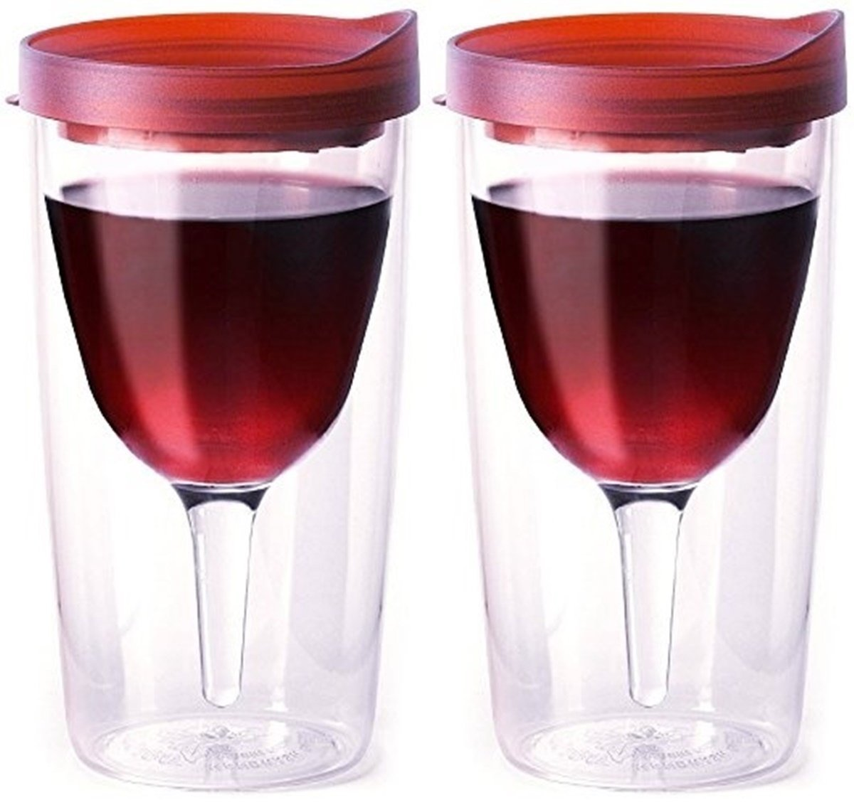 Amazon Com Vino2go Double Wall Acrylic Tumbler With Double Red Merlot Lids 10 Oz Pack Of 2 Tumblers Water Glasses
