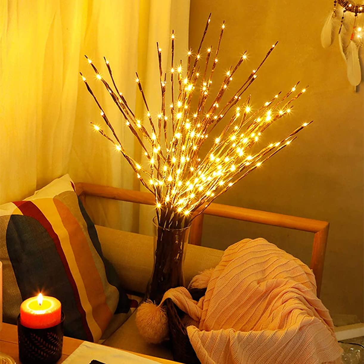 十代四分円一口パティオの寝室のハロウィーン感謝祭クリスマスのシミュレーションツリーブランチ文字列ライト