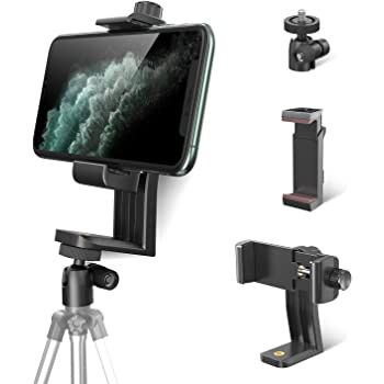 Phone Tripod Mount Adapter with 360° Swivel Ball Head + Smartphone Bracket Clamp, Rotatable Vertical Cellphone Holder Stand Clip for iPhone 12 11 Pro X Xr Xs Plus, Samsung S20 S10 S9, and All Phones