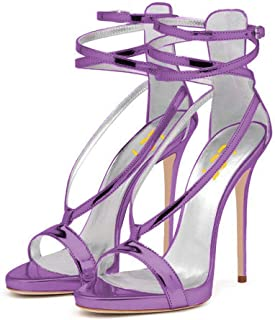 Women Sexy Strappy Sandals for Wedding Open Toe Metallic High Heels Pumps Shoes Size 4-15 US