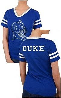 Ladies Duke Blue Devils Royal 2 Sided Rhinestone Short Sleeve T Shirt