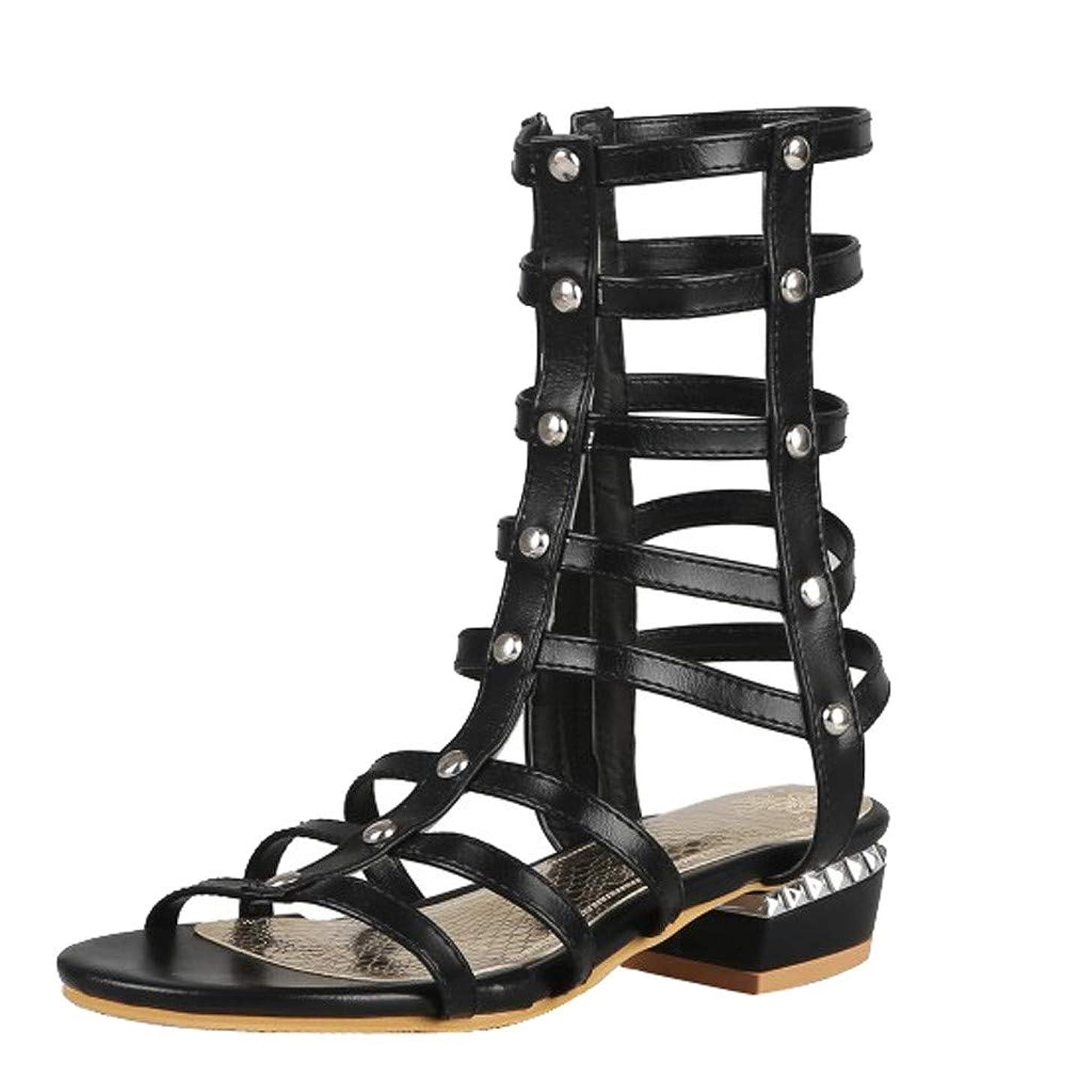 Women's Fashion Open Toe Studded Strappy Buckle Stylish Beach Flat Boots Gladiator Sandals JHKUNO