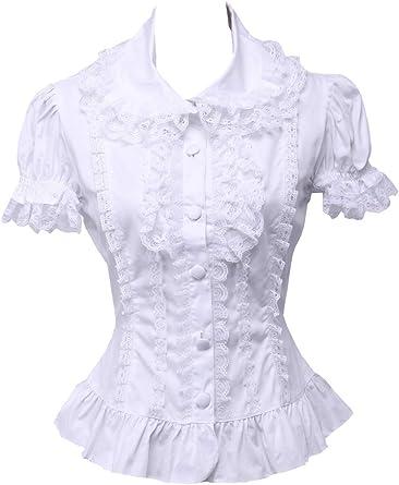 Blanca Algodón Encaje Volantes Manga de Soplo Vintage Victoriana Lolita Camisa Blusa de Mujer
