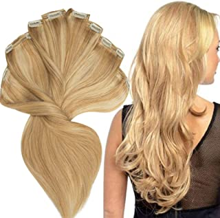200g Real Triple Weft Extra Thick Clip in 100% Remy Human Hair Extensions Full Head (14 inch 7.05Oz #18P613 Ash Blonde/Bleach Blonde) 8 Pcs Set Grade 10A Natural Hair Pieces Long Straight for Women