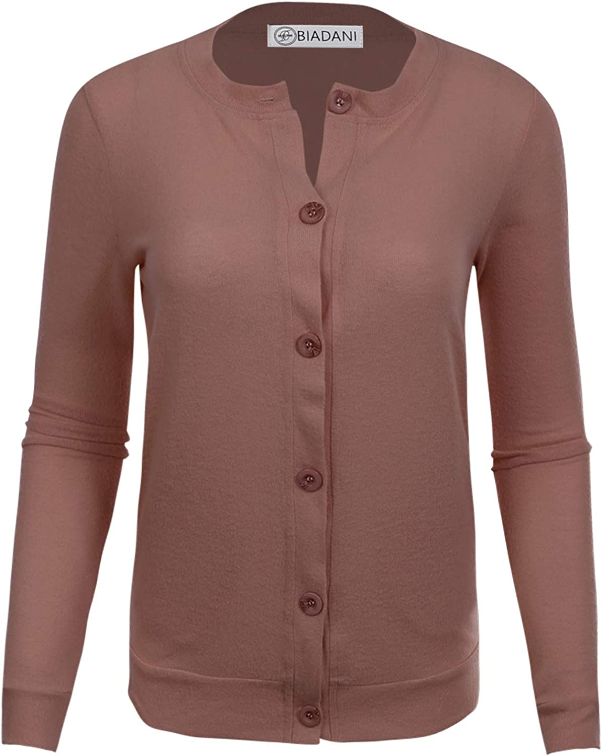 BIADANI Women OFFicial mail order Button Max 58% OFF Down Long Sweat Soft Sleeve Cardigan V-Neck