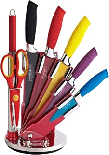 Royalty Line RL-COL8-W, 8Pcs True Ceramic Knife Set, Kitchen Knife Set, Rotating Holder Stand, Rainbow