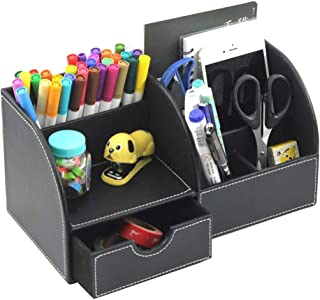 Desk Organizer Multi-Function Pencil Holder Organizer 7 Compartments with Drawer Desktop Storage Box (Black)