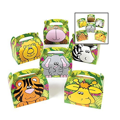 Adorox 12 Boxes Jungle Safari Zoo Animal Cardboard Favor Treat Boxes Birthday Party Goody Bags Lion Tiger Elephant Zebra Hippo Giraffe