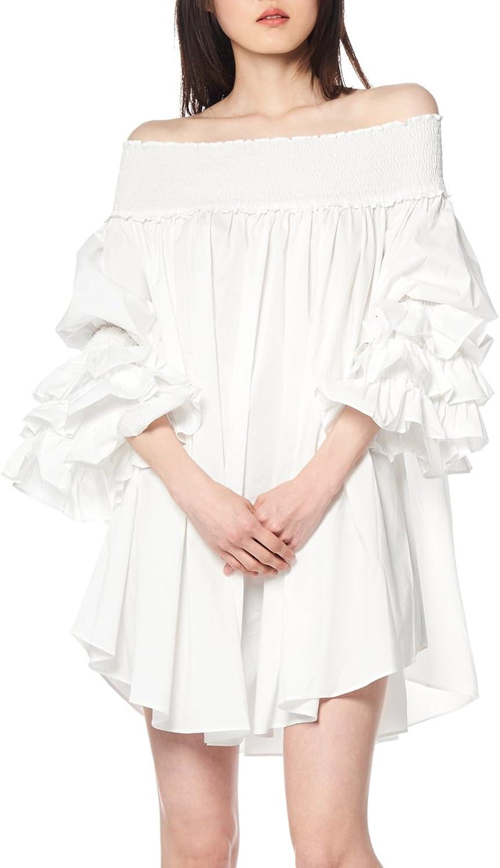 Gracia Off Shoulder Tunic w Long Sleeve Ruffles Dress
