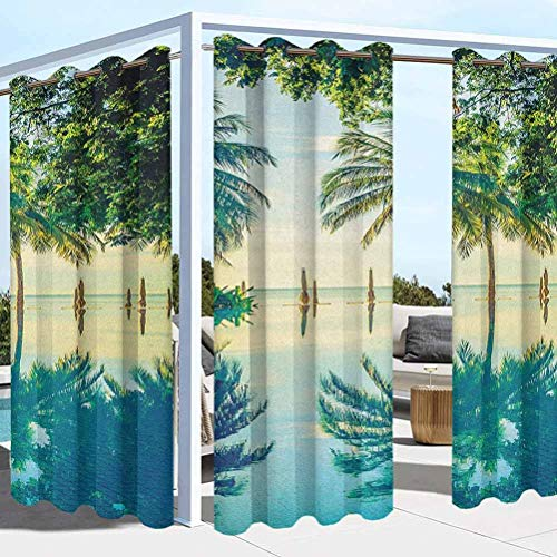 ParadiseDecor Landscape Washable Curtains for Pergola Sun Room Pool with Trees on The Surface No Filter Region Hot Spot Climate on Earth Theme Green Blue 104W x 63L Inch