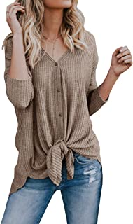d823875ad81 Remikstyt Womens Henley Shirts Long Sleeve Loose V Neck Button Down Front Knot  Waffle Knit Tunic