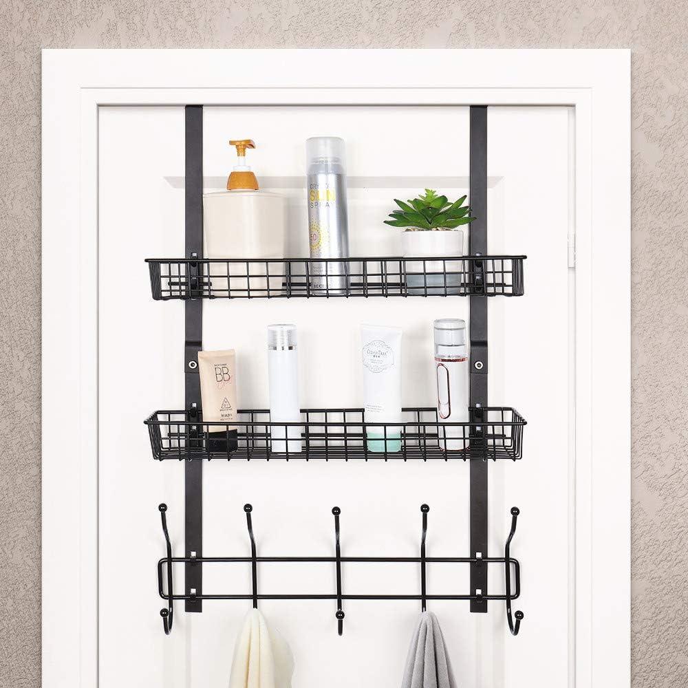 Amazon Com Over The Door 5 Hook Shelf Organizer Hanger Coat Rack Spice Rack With 2 Mesh Basket Storage Rack Rustproof For Bathroom Kitchen Storage Shelves Brown Home Improvement