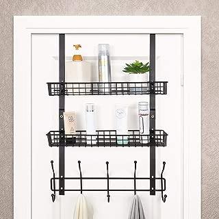 Over The Door 5 Hook Shelf Organizer Hanger Coat Rack with 2 Mesh Basket Storage Rack Rustproof for Bathroom Kitchen Storage Shelves, Brown