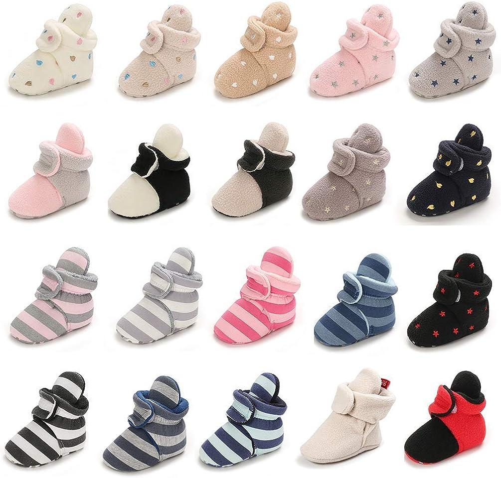 Sawimlgy Newborn Baby Soft Fleece Booties Stay On Infant Boys Girls Sock Shoes Non-Slip Gripper Sole Toddler Warm Winter Ankle Crib Slipper Socks First Walker Birthday Shower Gift
