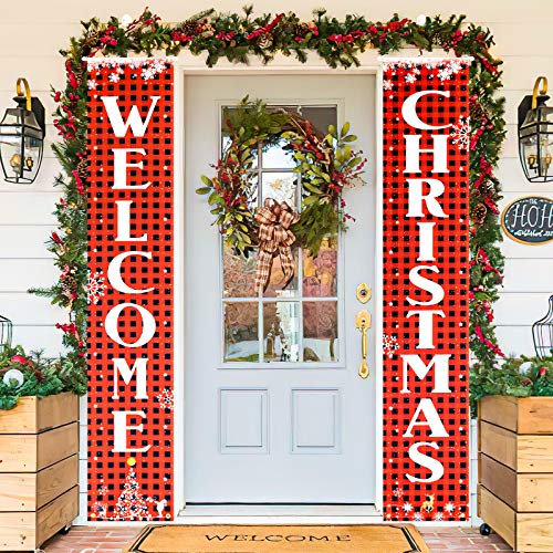 SAMYERLEN Merry Christmas Banner Christmas Decorations, Indoor Outdoor Christmas Door Decorations for Porch Office, Christmas Porch Sign Hanging Wall Decor (Welcome Christmas)