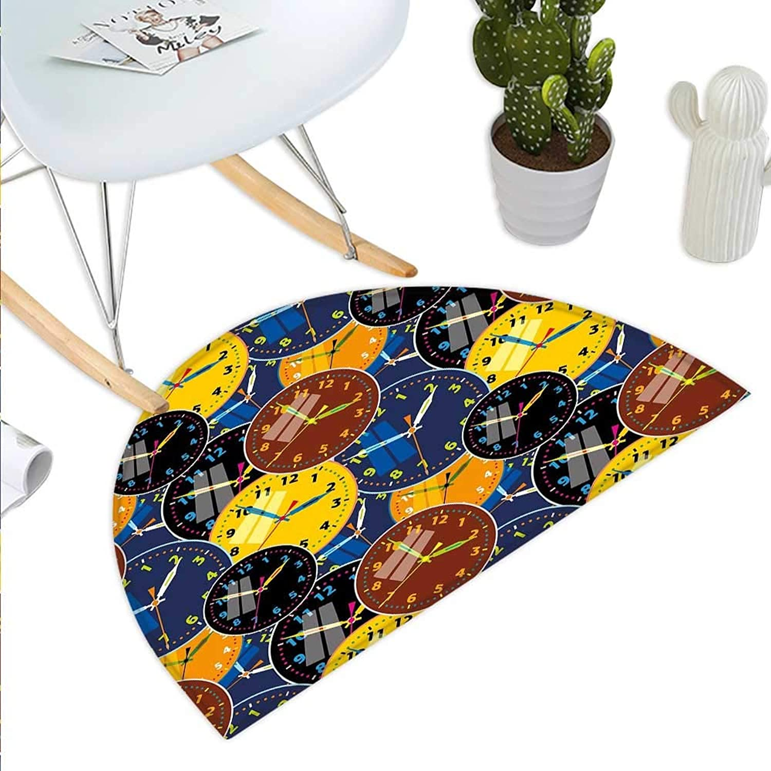 Clock Semicircle Doormat A Pattern with Clock Faces on It Vintage Style Inspired Illustration Design Halfmoon doormats H 39.3  xD 59  Yellow and Black