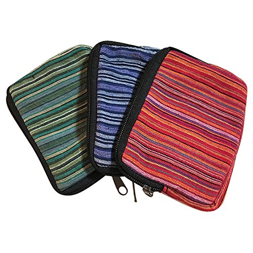 Set of 3 - Zippered Cotton Coin Purse, Wallet, Pouch, Organizer - Handmade in Nepal, Multi-use