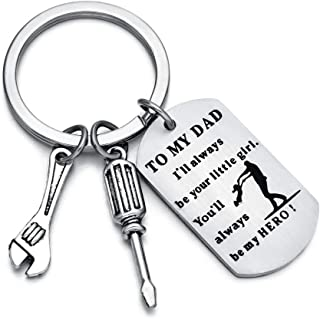 To My Dad I'll Always Be Your Little Girl You'll Always Be My Hero Keychain For Firefighter Police Officer