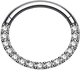 OUFER Piercing per setto nasale G23 in titanio solido Daith Orecchino a cerchio trago elica anelli 16G incernierato segmen...
