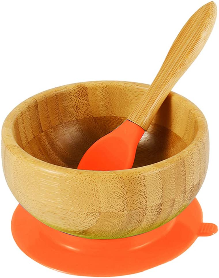 Albuquerque Mall SK Bamboo Kids Bowls with BPA Silicone Free Matching Spoon San Jose Mall Set