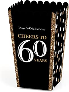 Personalized Adult 60th Birthday - Gold - Custom Birthday Party Favor Popcorn Treat Boxes - Custom Text - Set of 12