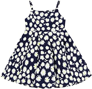 d998d120e Hongyuangl Niños Niñas Vestido Hongo de Verano Vestidos Bohemios Vestido de  Playa sin Mangas con Volantes