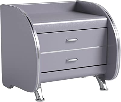 US Pride Furniture Faux Leather Contemporary Nightstand, Silver