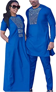 HD African Couple Clothes Man Rhinestone Shirt and Pants Set Maxi Dress for Women