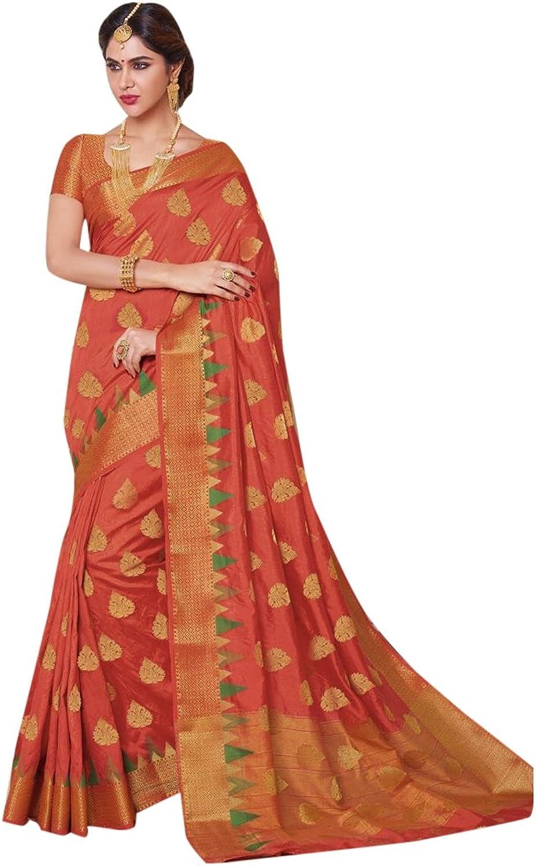 Designer Bollywood orange Silk Saree Sari for Women Latest Indian Ethnic Collection Casual Wear Festive Ceremony 2689 14