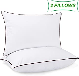 2 Pack Bed Pillows for Sleeping Down Alternative Sleeping Pillows for Side Back Sleepers with Super Soft Plush Fiber Filled Hotel Collection Adjustable Fit and Zipper Removable Pillow (Queen Size)