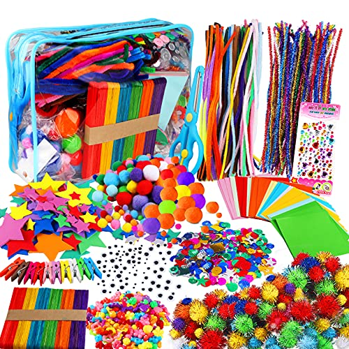 Yojoloin 1270PCS Artes y Manualidades para Niños Niñas Edades 5 6 7 8,Kit Manualidades Niños,Juego Creativo Pipe Cleaners Crafts Set DIY Materiales Supplies